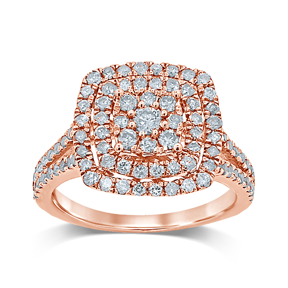 9ct Rose Gold 1 Carat Diamond Dress Ring