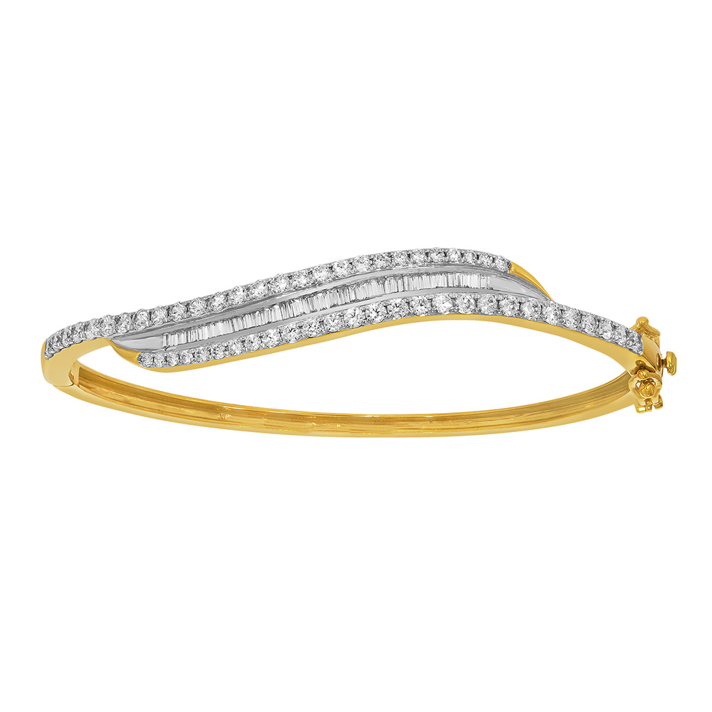 9ct Yellow Gold 2 Carat Diamond Bangle with Brilliant and Taperd Baguette Diamonds