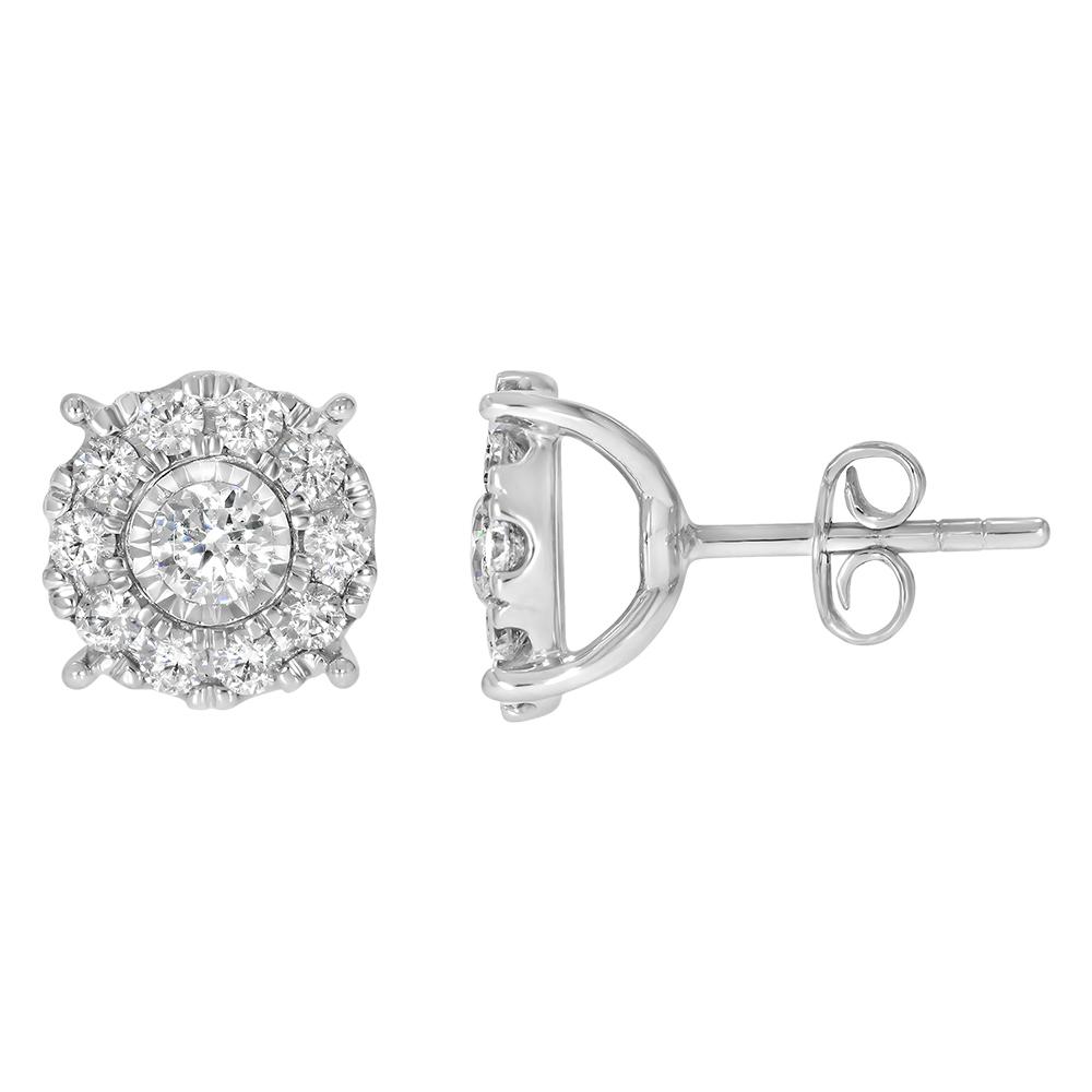 9ct White Gold 1.5 Carat Diamond Stud Earrings