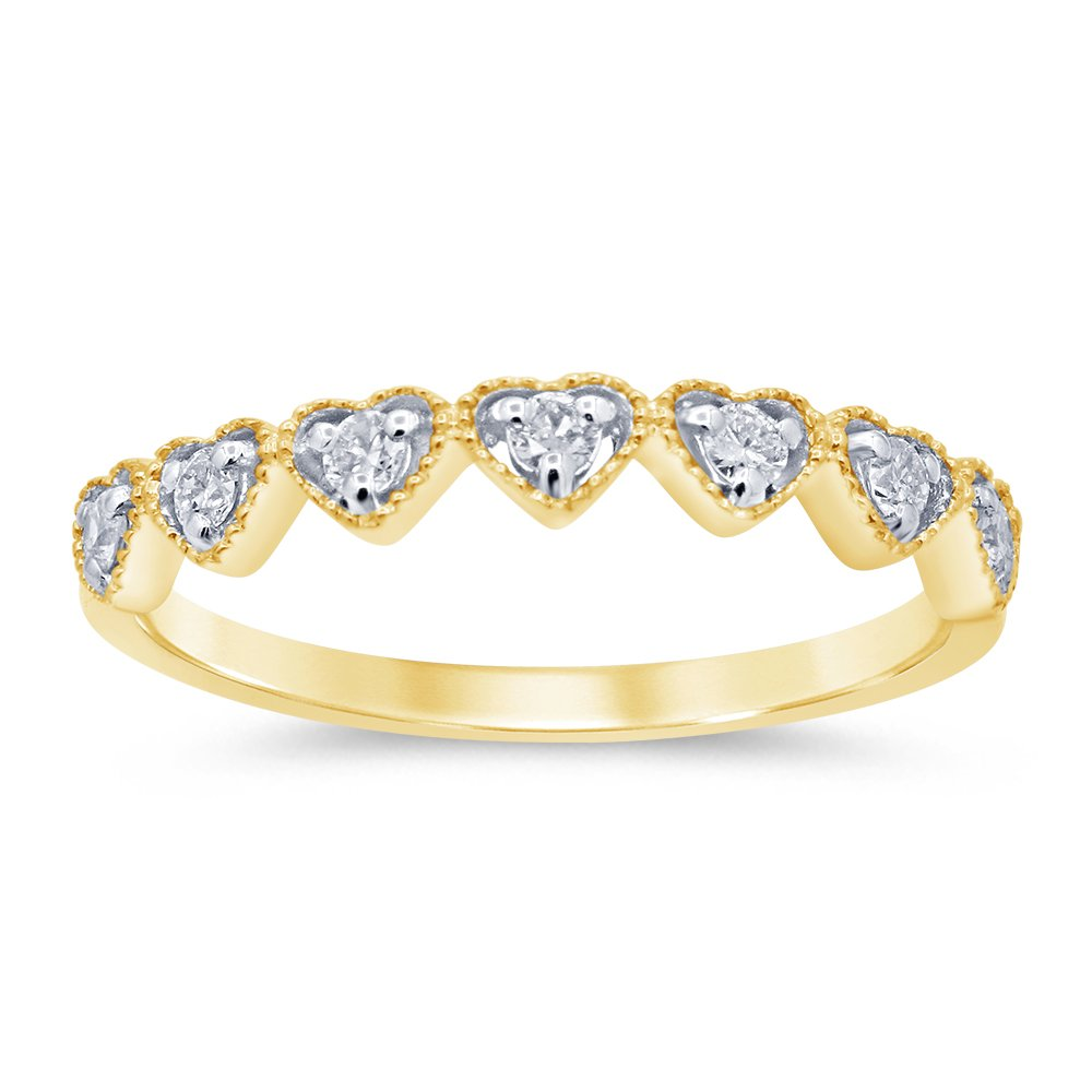 Luminesce Lab Grown 9ct Yellow Gold 1/5 Carat Diamond Eternity Ring with 7 Diamonds
