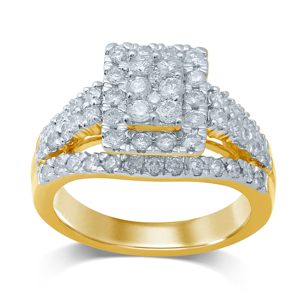 Luminesce Lab Grown 9ct Yellow Gold 1.50 Carat Diamond Dress Ring with 62 Diamonds