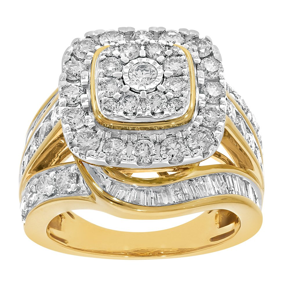 9ct Yellow Gold 3 Carat Diamond Ring with Brilliant and Taperd Baguette Diamonds