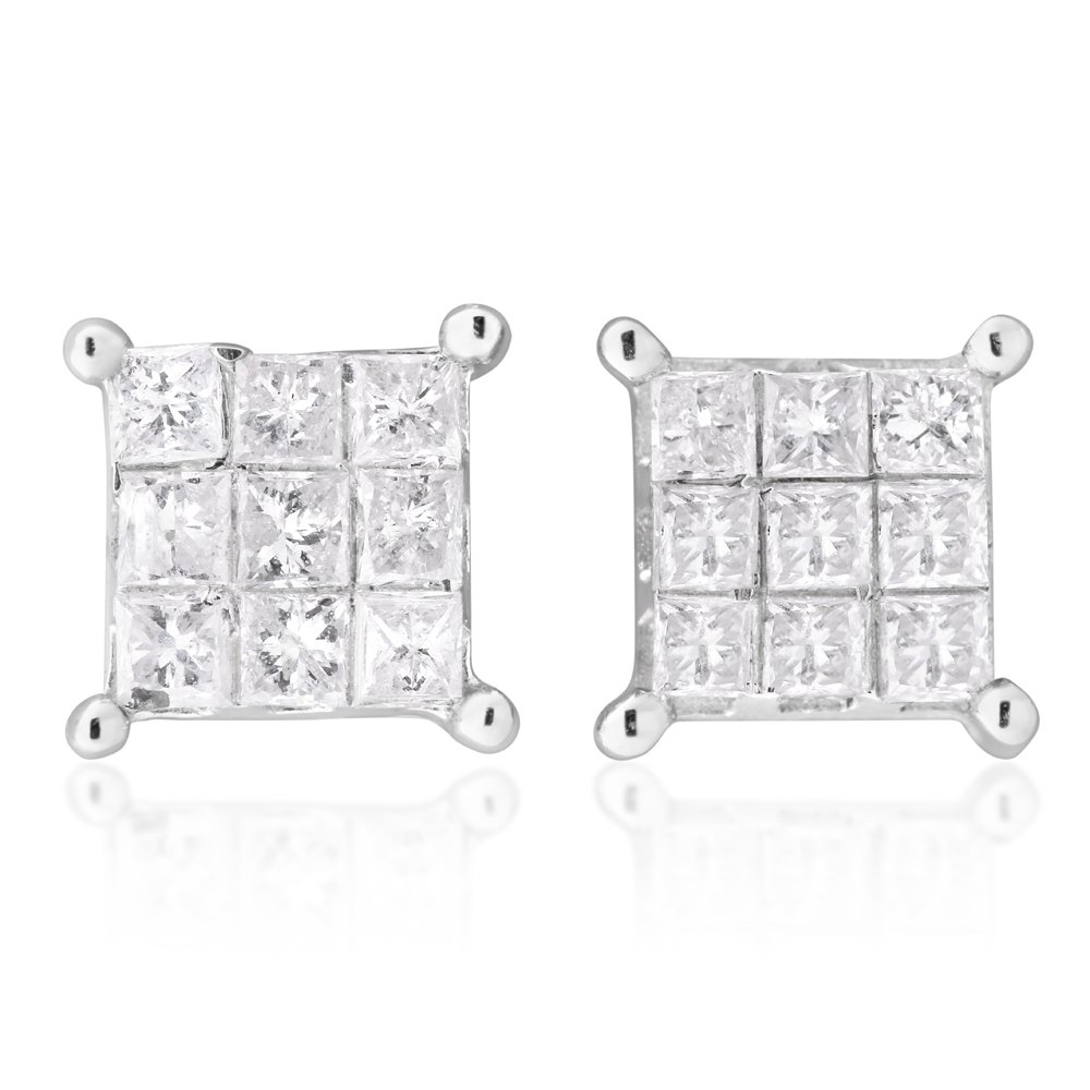 10ct White Gold 1/2 Carat Diamond Stud Earrings