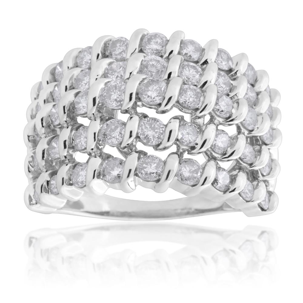 10ct White Gold 2 Carat 5 Row Diamond Ring