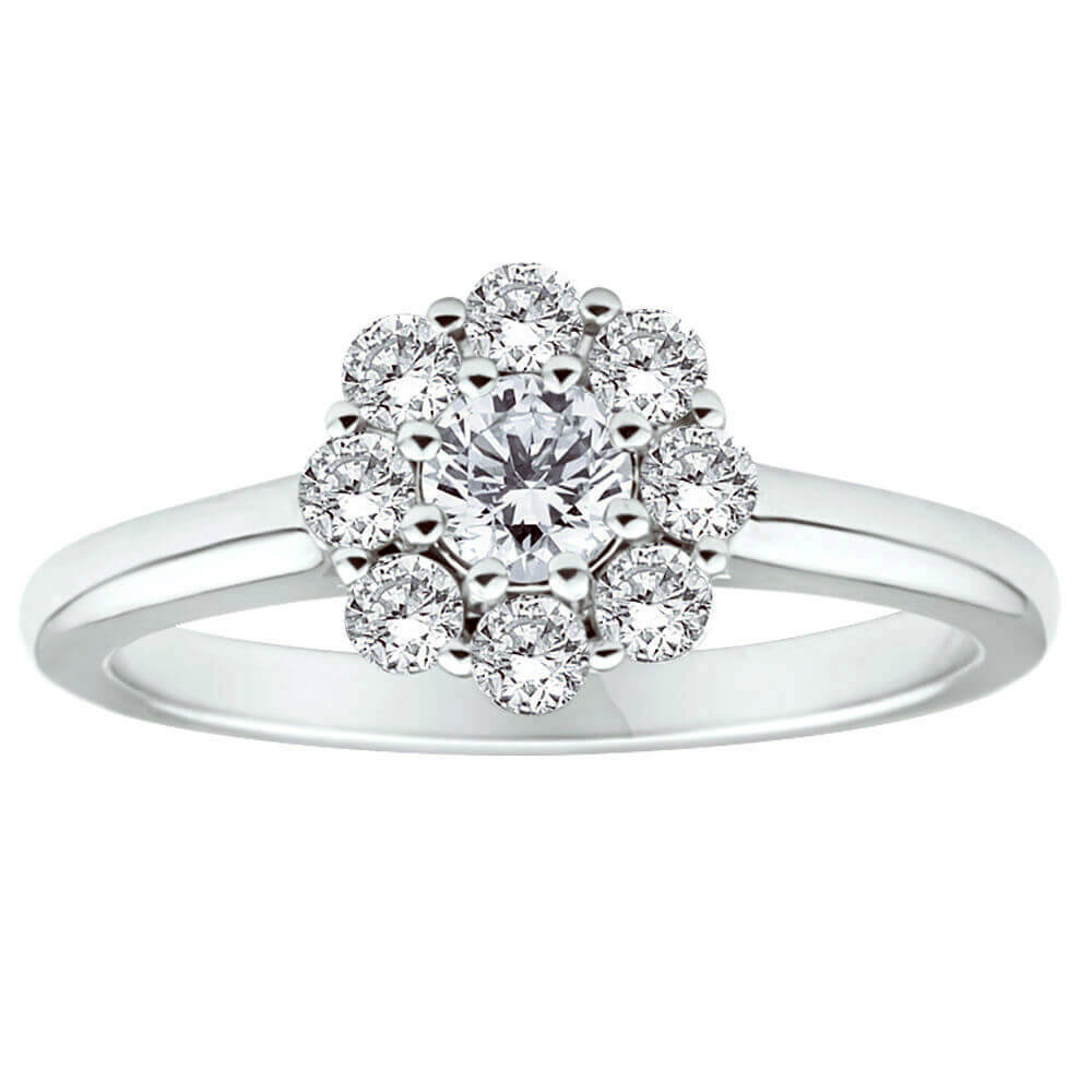 Flawless Cut 18ct White Gold Ring With 0.5 Carats Of Diamonds