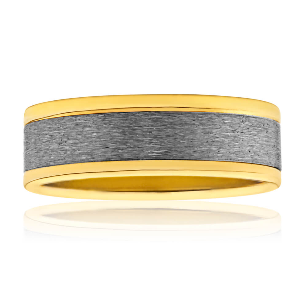 Flawless Cut 9ct Yellow Gold & Titanium 7mm Ring