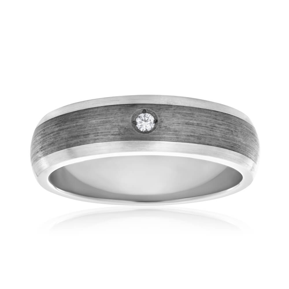 Flawless Cut Titanium and Sterling Silver Inlay Diamond Ring (TW=3pt)