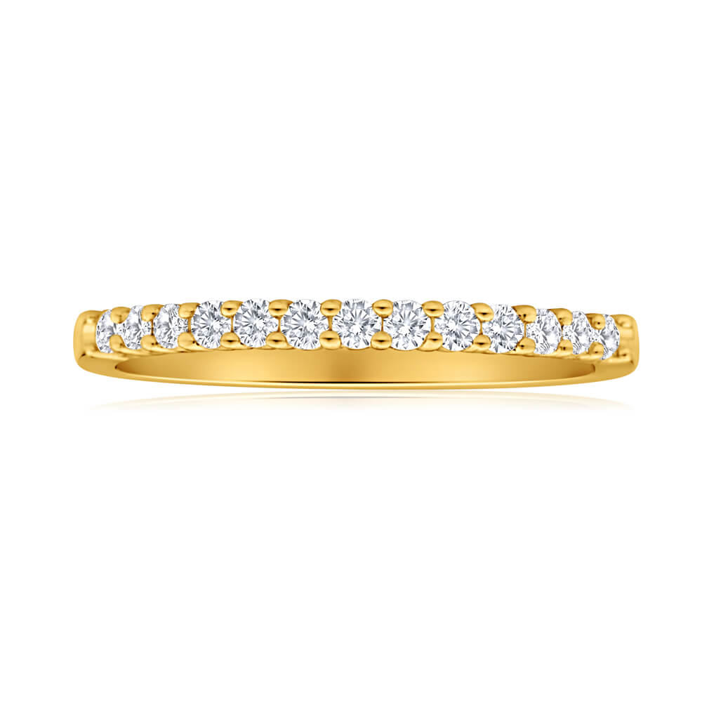 Flawless Cut 18ct Yellow Gold Diamond Ring With 13 Diamonds (TW-25-29PT)