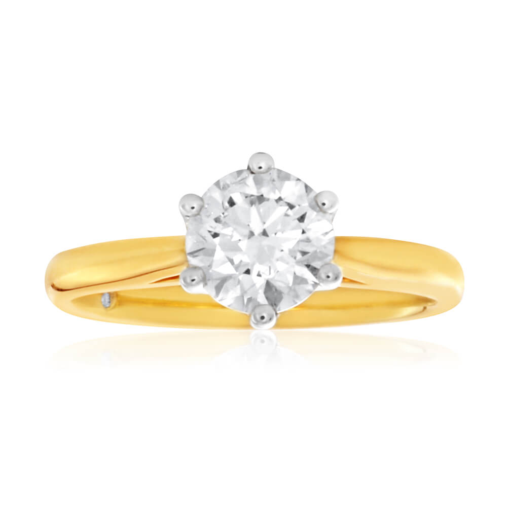 Flawless Cut 18ct Yellow Gold Solitaire Ring With 1 Carat Diamond