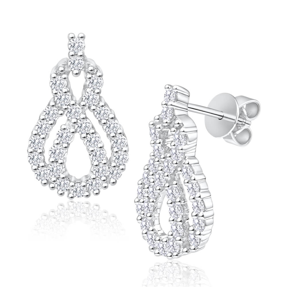 Flawless Cut 18ct White Gold Diamond Drop Earrings