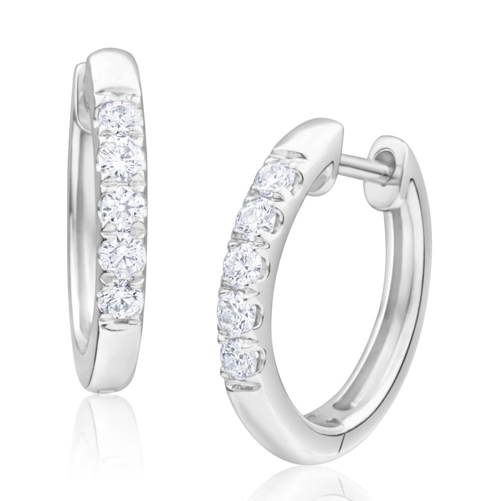 Flawless Cut 9ct White Gold Diamond Hoop Earrings With 5 Diamonds Each (TW=20pt)