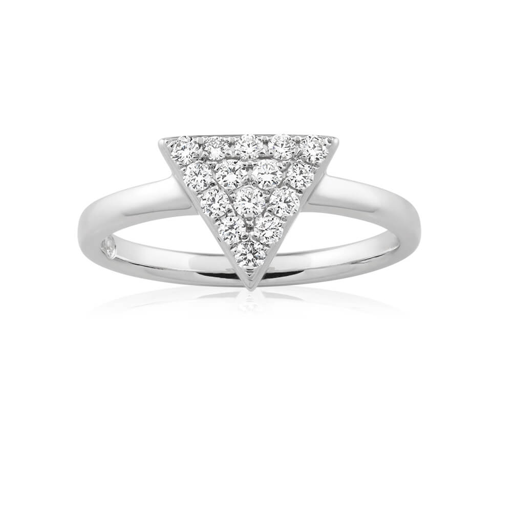 Flawless Cut 9ct White Gold Diamond Ring With 15 Diamonds (TW=25pt)