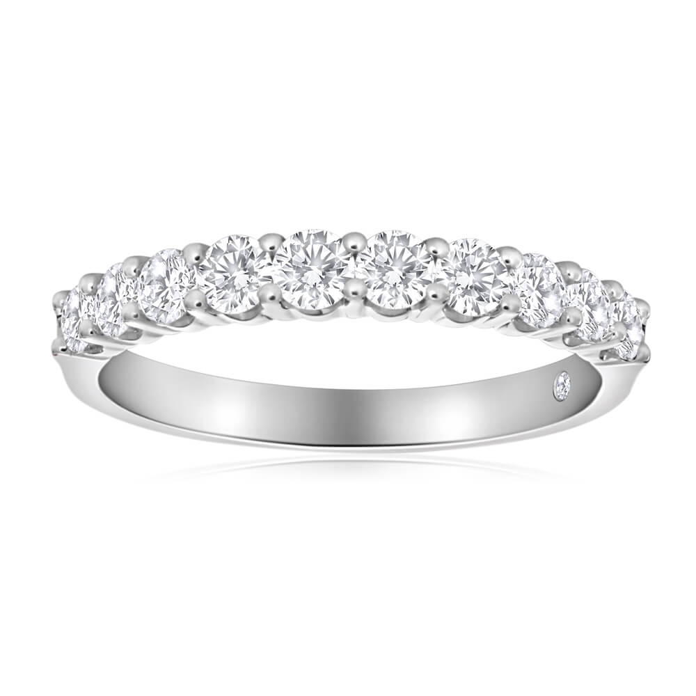 Flawless Cut 18ct White Gold Ring With 10 Diamonds (TW=1.00 Carat)