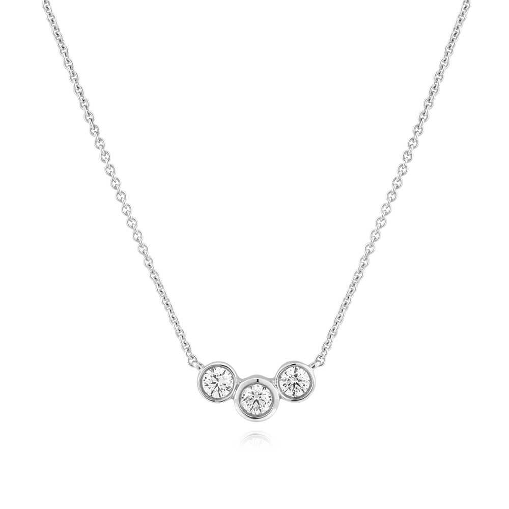 Flawless Cut 9ct White Gold Diamond Pendant With Three Diamonds (TW=15pt)