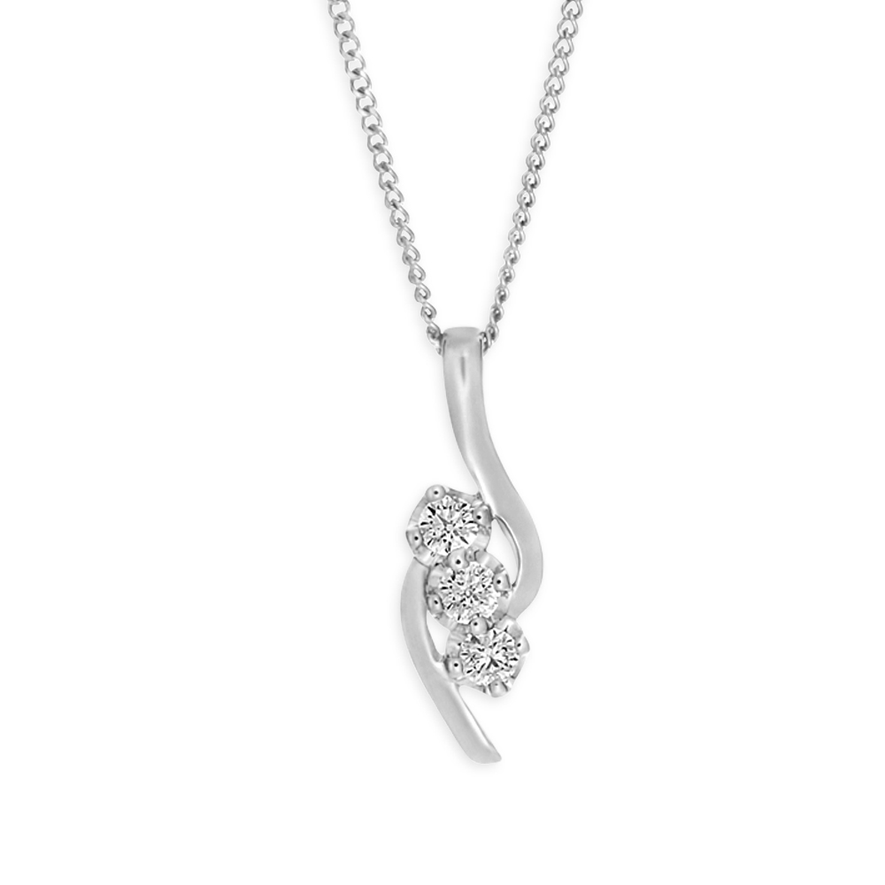 Flawless Cut 9ct White Gold Diamond Pendant (TW=15pt)