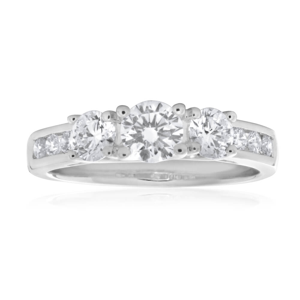 Flawless Cut 18ct White Gold Trilogy Diamond Ring (TW=90pt)