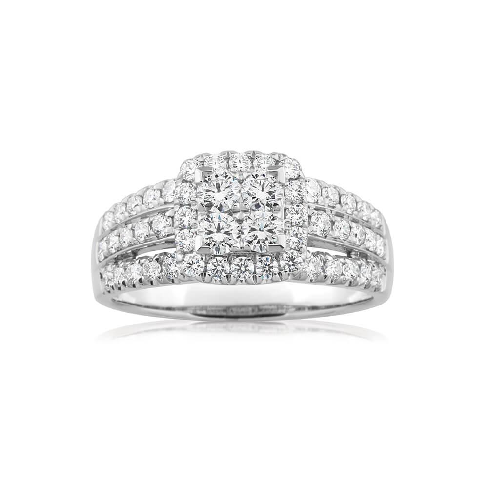 Flawless Cut 9ct White Gold Diamond Ring (TW=1CT)