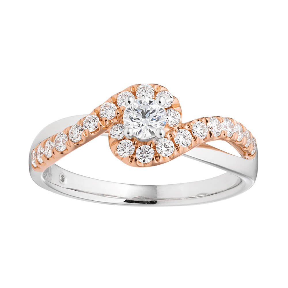 Flawless Cut 18ct Rose Gold Ring With 0.5 Carats Of Diamonds