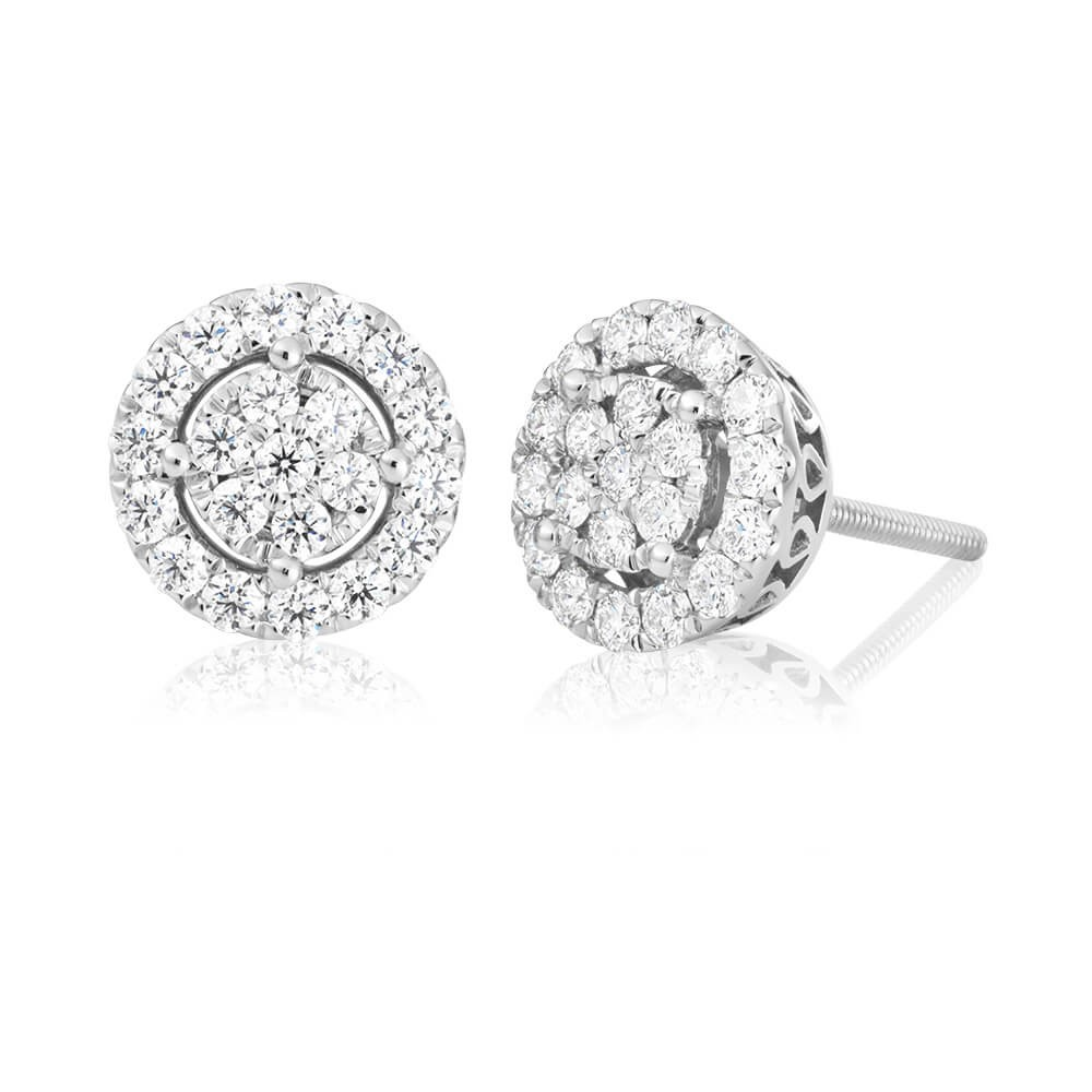 Flawless Cut 9ct White Gold Diamond Stud Earrings