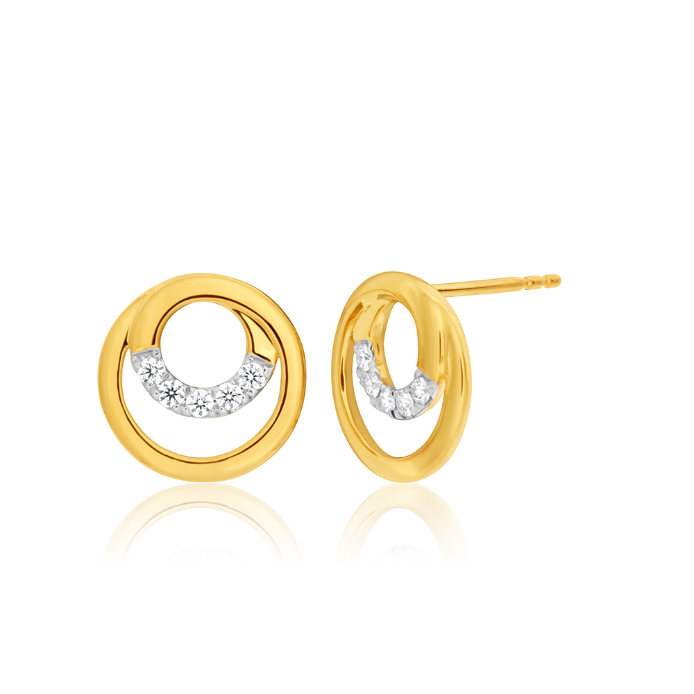 Flawless Cut 00.15 Carat 9ct Yellow Gold Diamond Stud Earrings