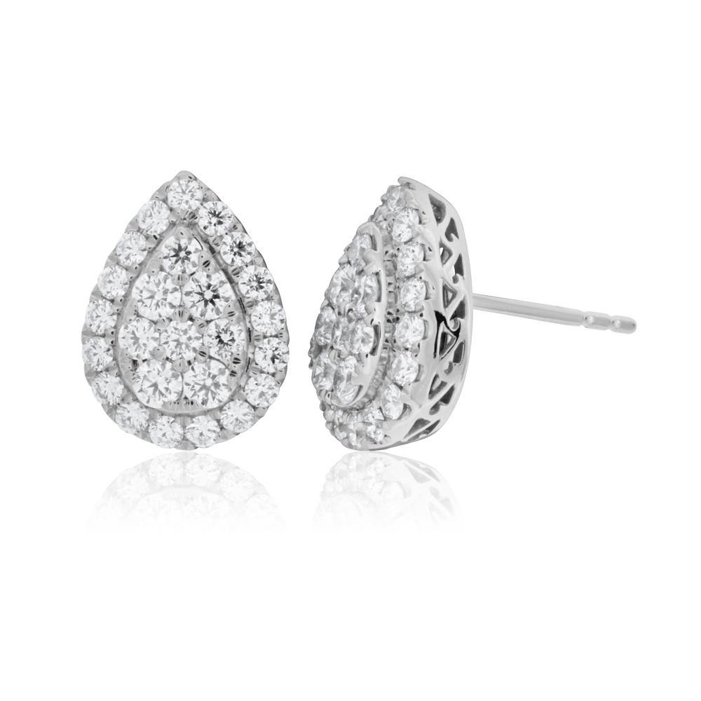 Flawless 1 carat 9ct White Gold Diamond Stud Earrings