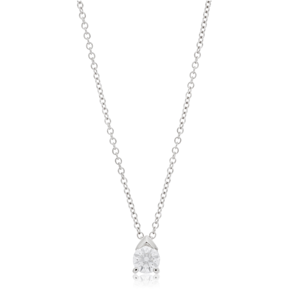 Flawless Cut 9ct White Gold Pendant With 10 Points Of Diamonds - Chain Included
