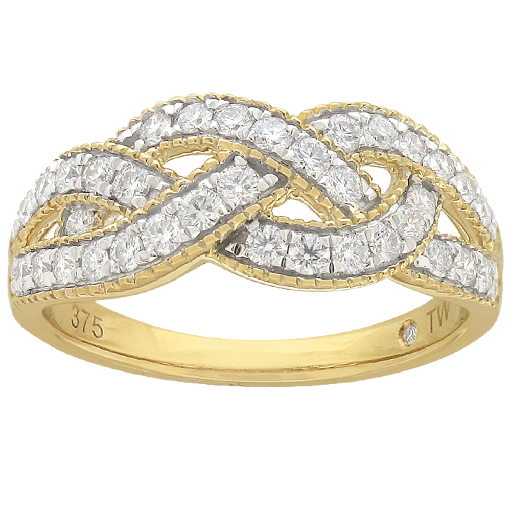 Flawless Ring 1/2 Carat TW of Diamonds in 9ct Yellow & White Gold