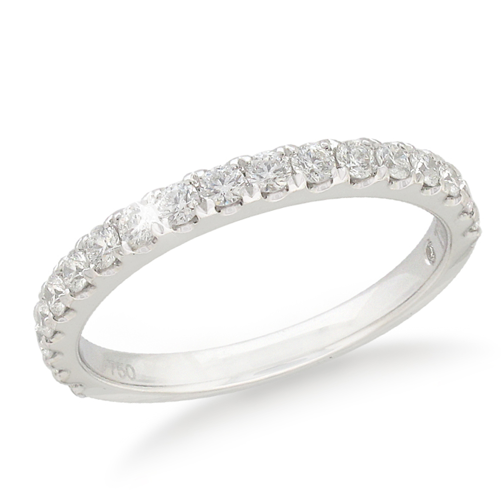 Flawless Cut Diamond 18ct White Gold Eternity Ring With 18 Diamonds (TW=30pt)