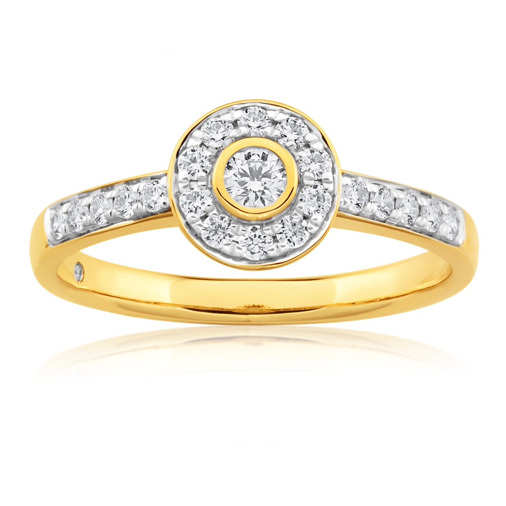 Flawless 9ct Yellow Gold 40 Points Diamond Ring