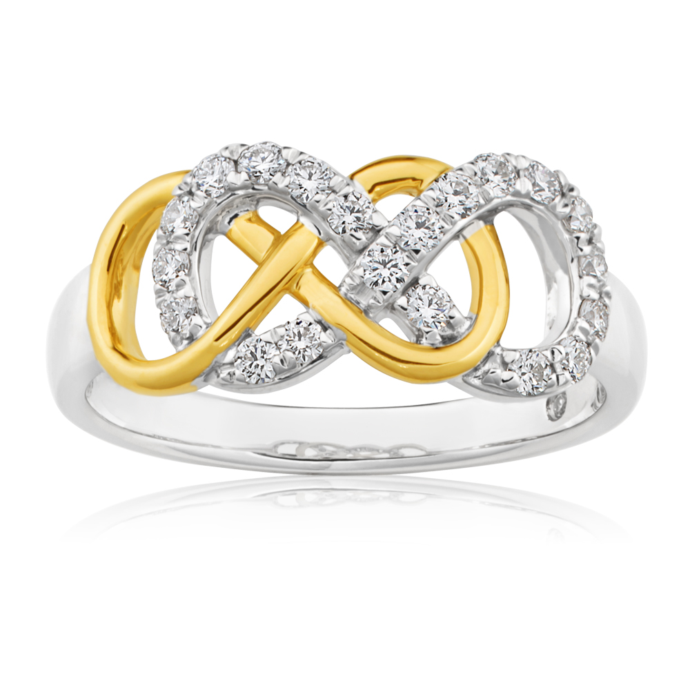 Flawless 9ct White and Yellow Gold Infinity 30 Points Diamond Ring
