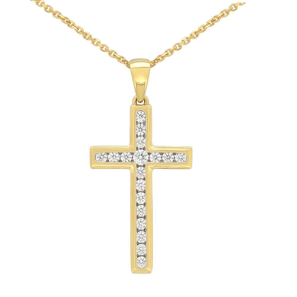Flawless 9ct Yellow Gold Cross Pendant (TW=1/4 carat)