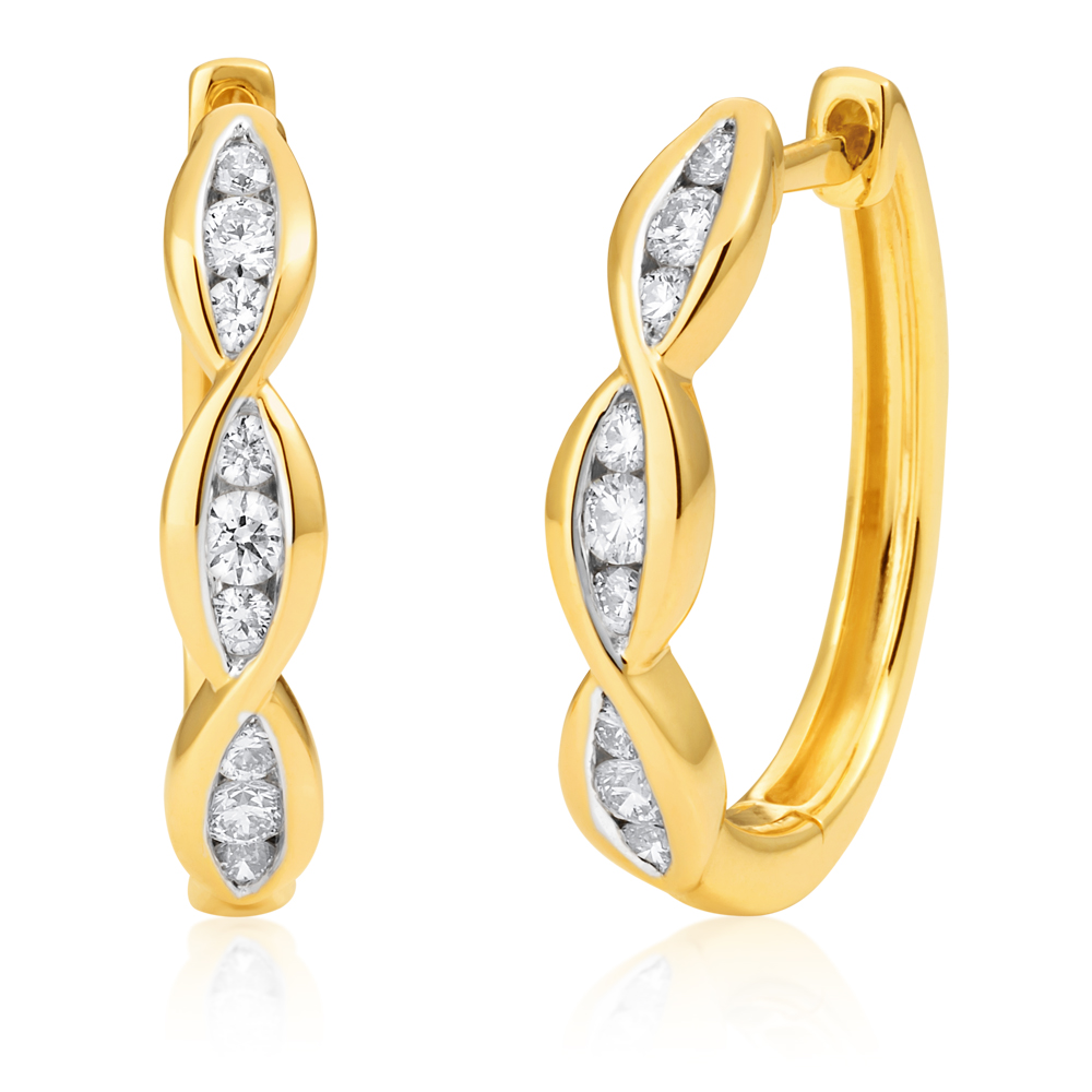 Flawless 9ct Yellow Gold Hoop Earrings (TW=1/3 Carat)