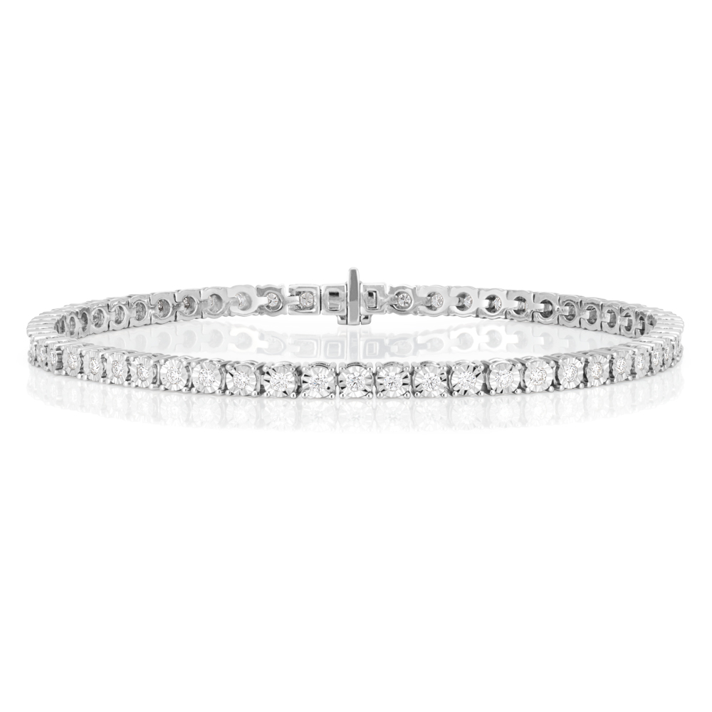 Flawless 9ct White Gold Tennis Diamond Bracelet (TW=1.00ct)