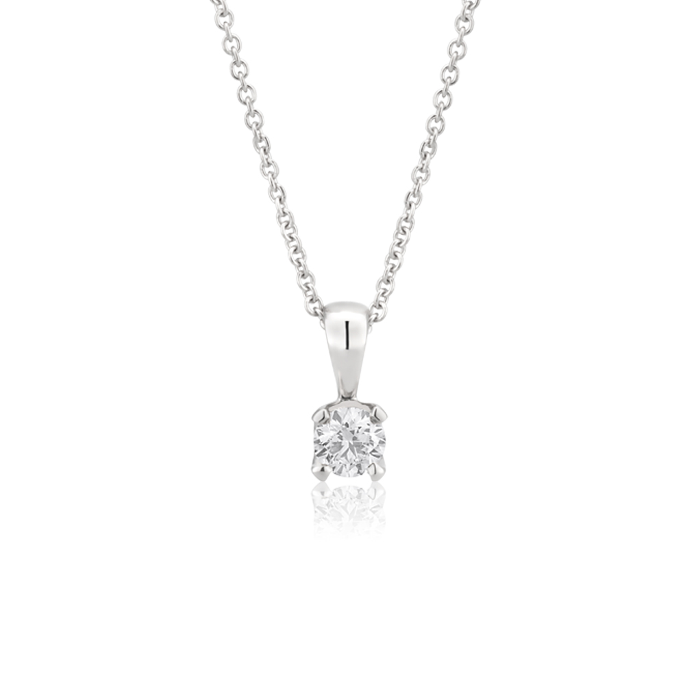 Flawless 9ct White Gold 0.10 Carat Diamond Solitaire Pendant on a 45cm Chain
