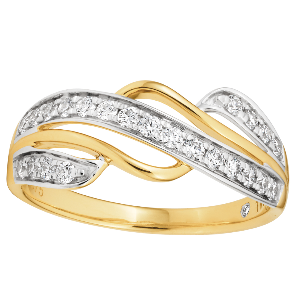 Flawless 9ct White and Yellow Gold 1/3 carat Diamond Ring