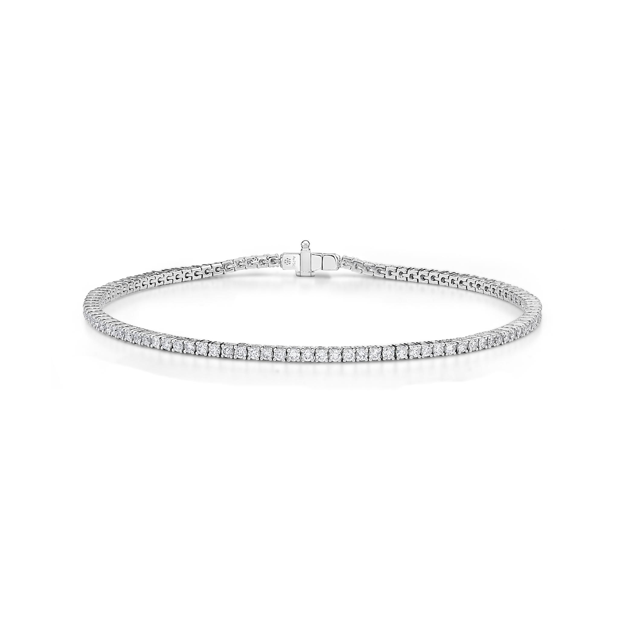 Memoire 18ct White Gold 2 Carat Diamond 4 Prong Tennis Bracelet