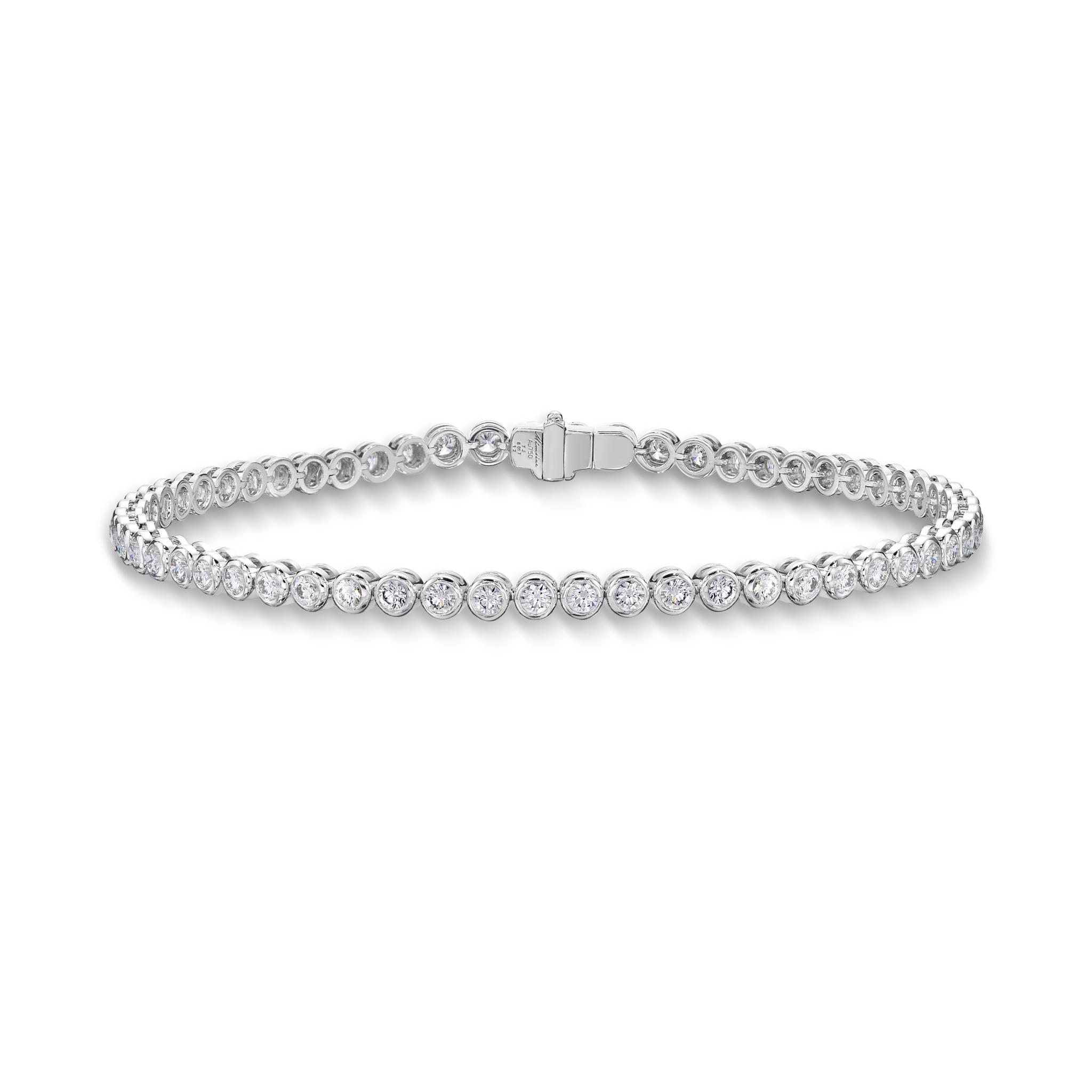 Memoire 18ct White Gold 1 Carat Diamond Bezal Tennis Bracelet