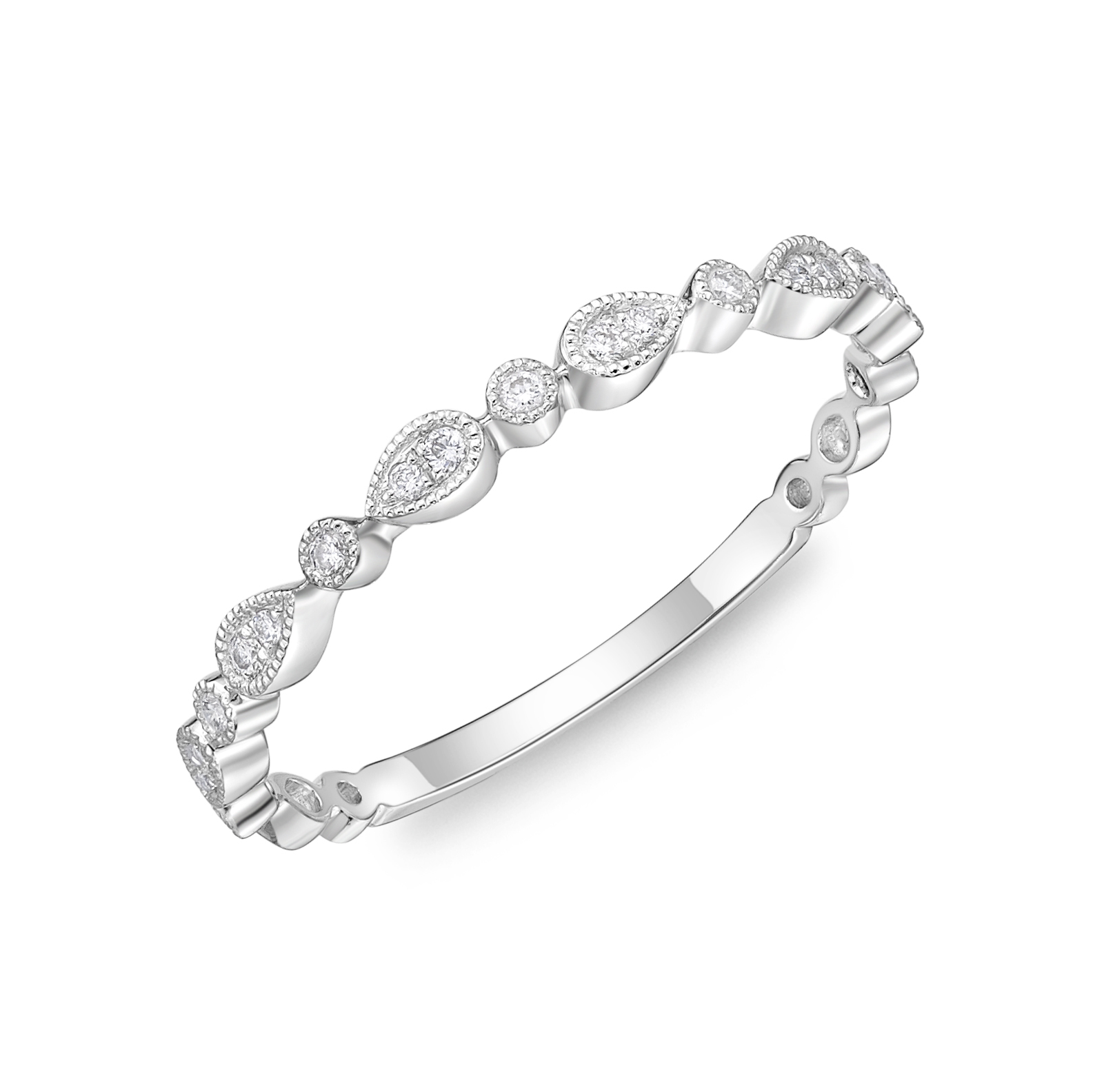 Memoire 18ct White Gold Vintage Round & Illusion Pear Stack Ring with 19 Diamonds
