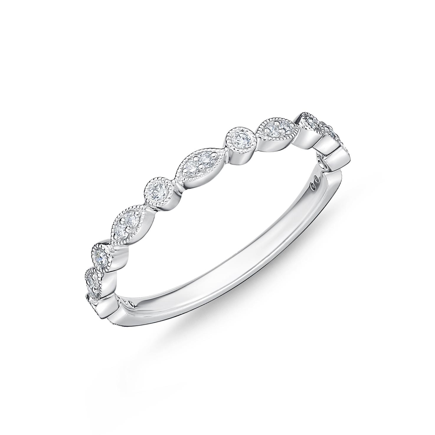 18ct White Gold 0.15 Carat Diamond Vintage Round & Illusion Marquise Stack Ring