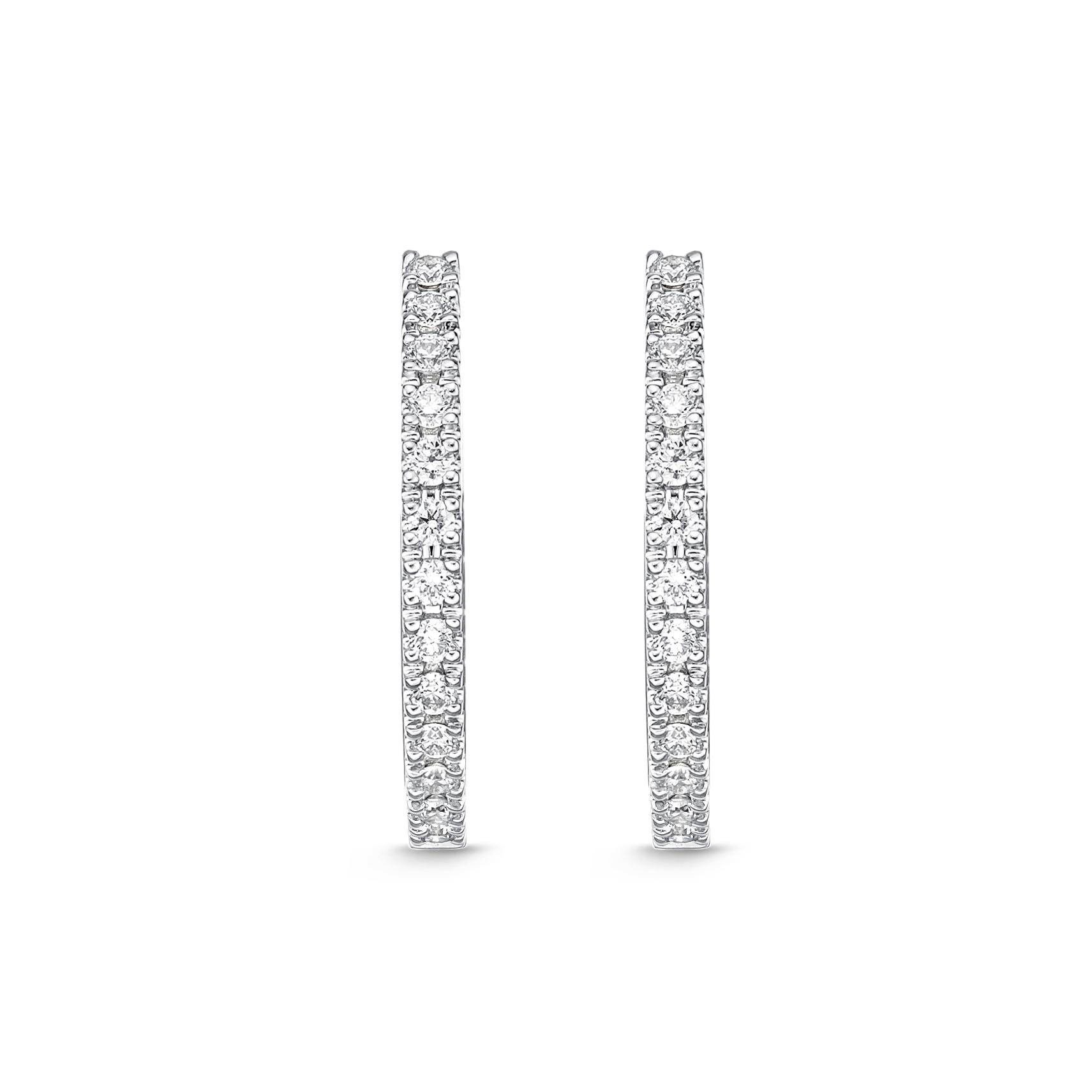 Memoire 18ct White Gold 0.30 Carat Diamond Classic Oval Hoop Earrings 17X16mm