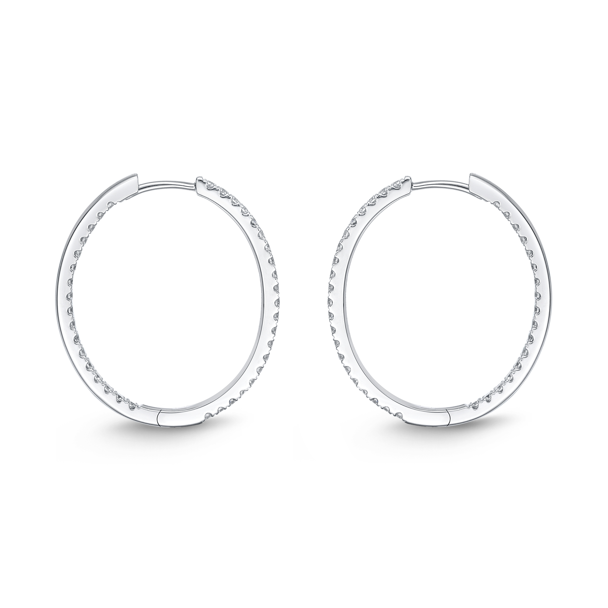 Memoire 18ct White Gold 0.70 Carat Diamond Classic Oval Hoop Earrings 19X23mm