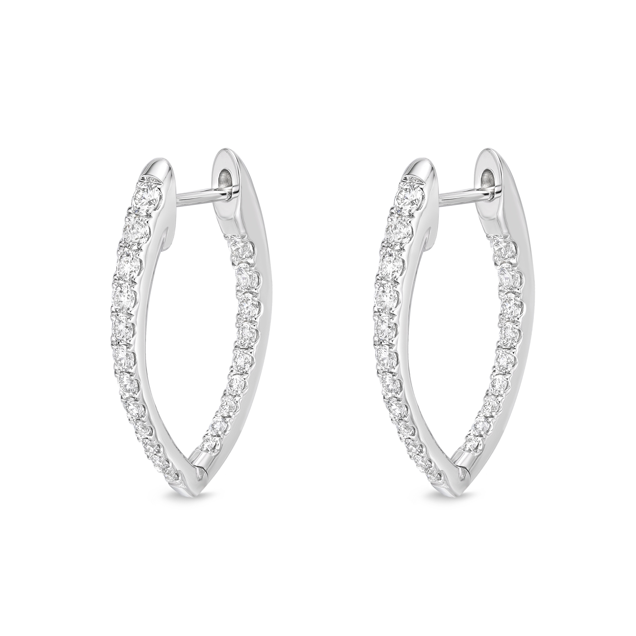 Memoire 18ct White Gold 3/4 Carat Diamond Imperial Hoop Earrings 22X14mm