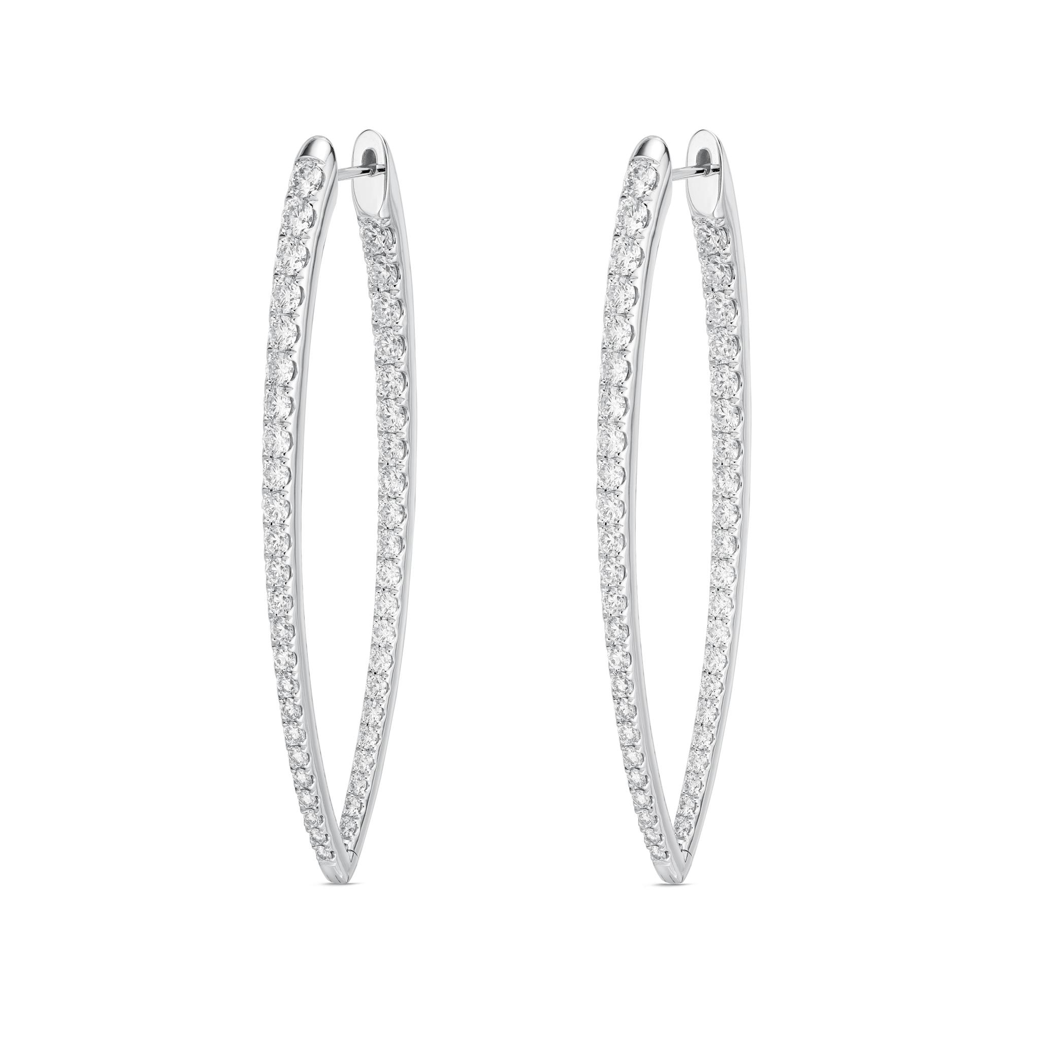Memoire 18ct White Gold 3.30 Carat Diamond Imperial Hoop Earrings 55X19mm
