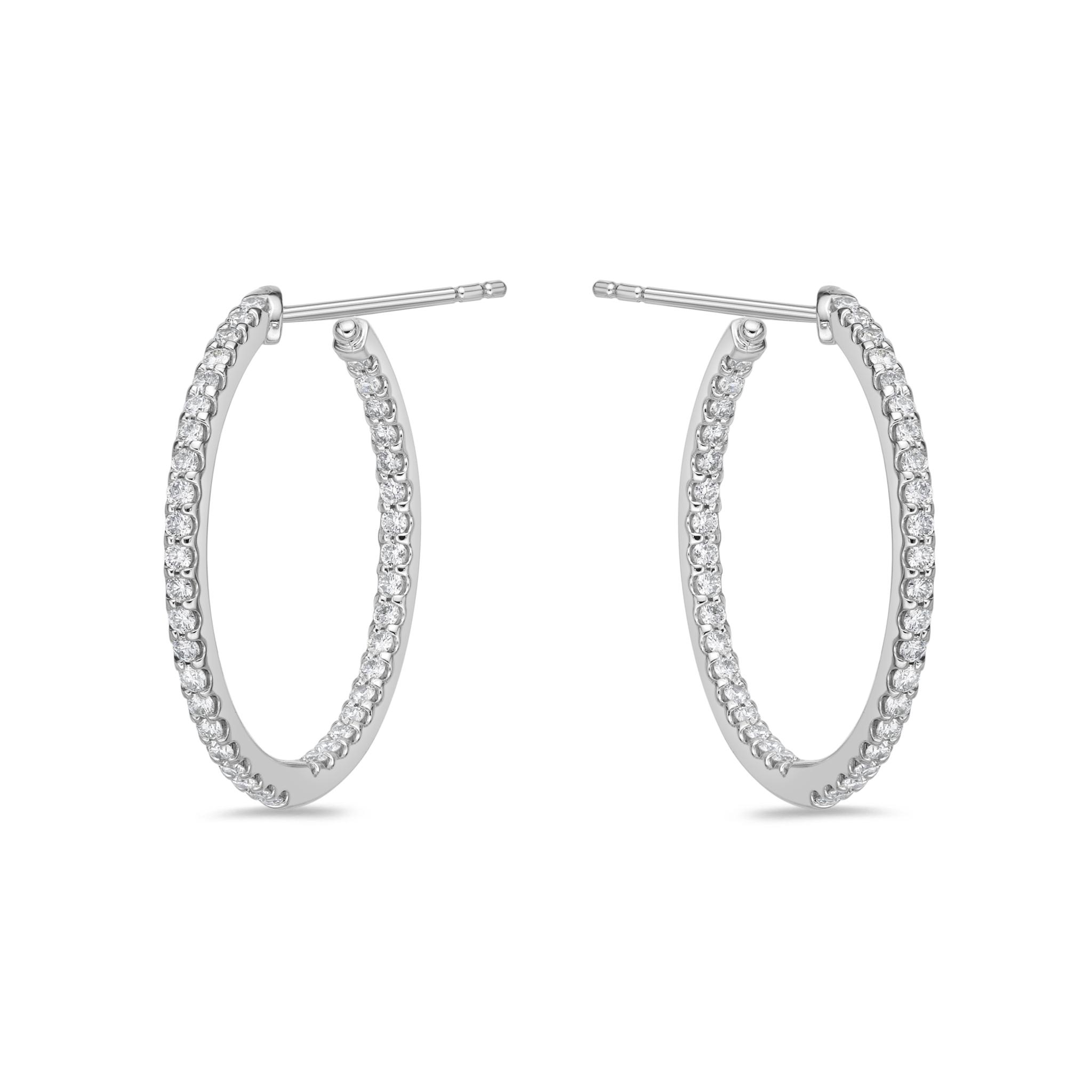 Memoire 18ct White Gold 3/4 Carat Diamond Odessa Hoop Earrings 24x24mm