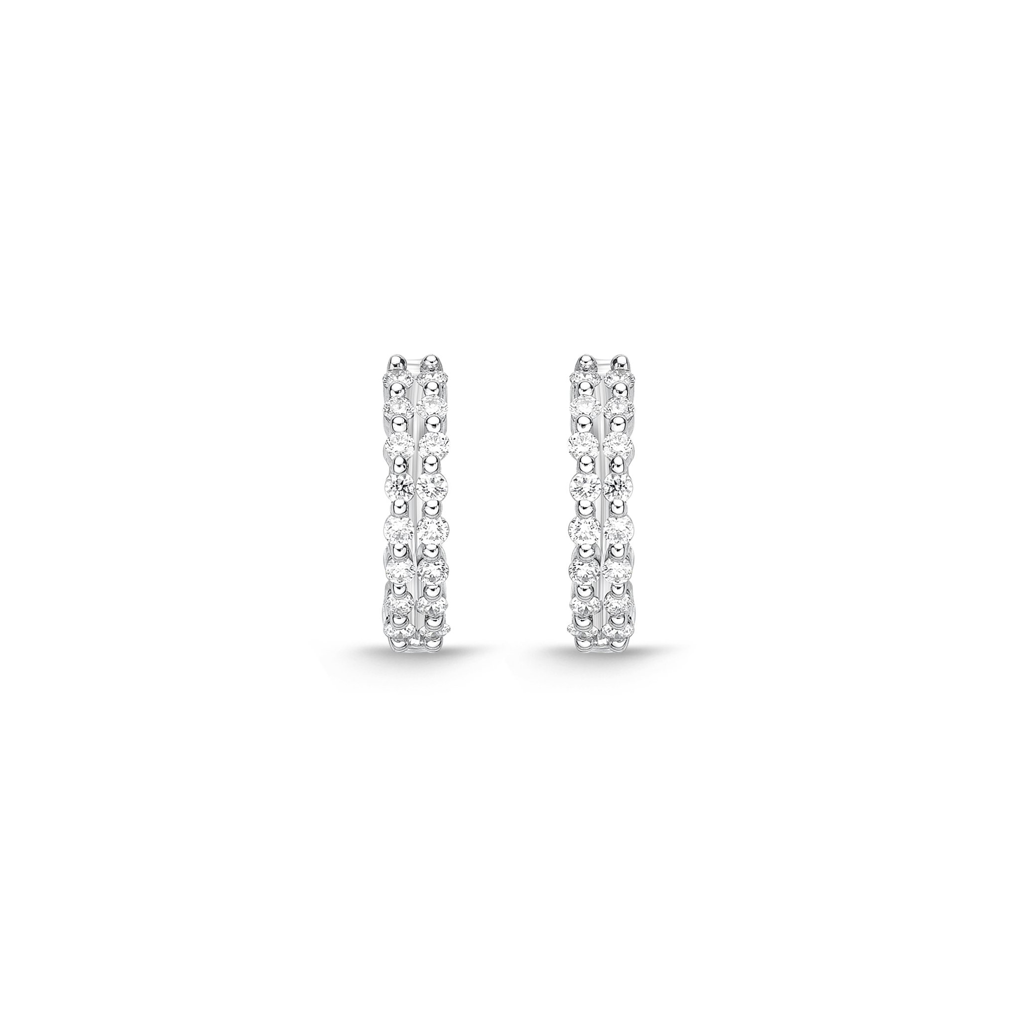 Memoire 18ct White Gold 1/5 Carat Diamond Hoop Earrings 12x12mm