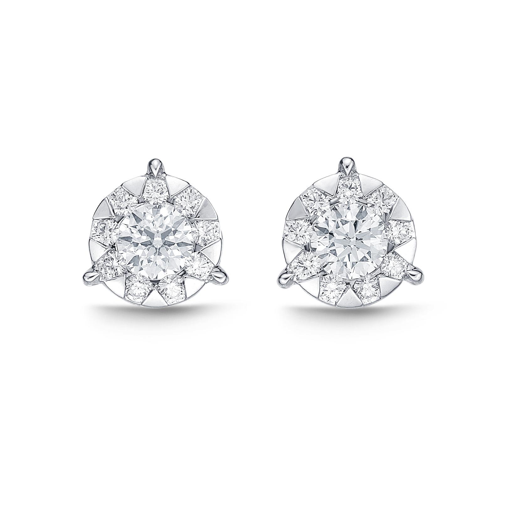 Memoire 18ct White Gold 0.15 Carat Diamond 3 Prong Bouquet Style Stud Earrings