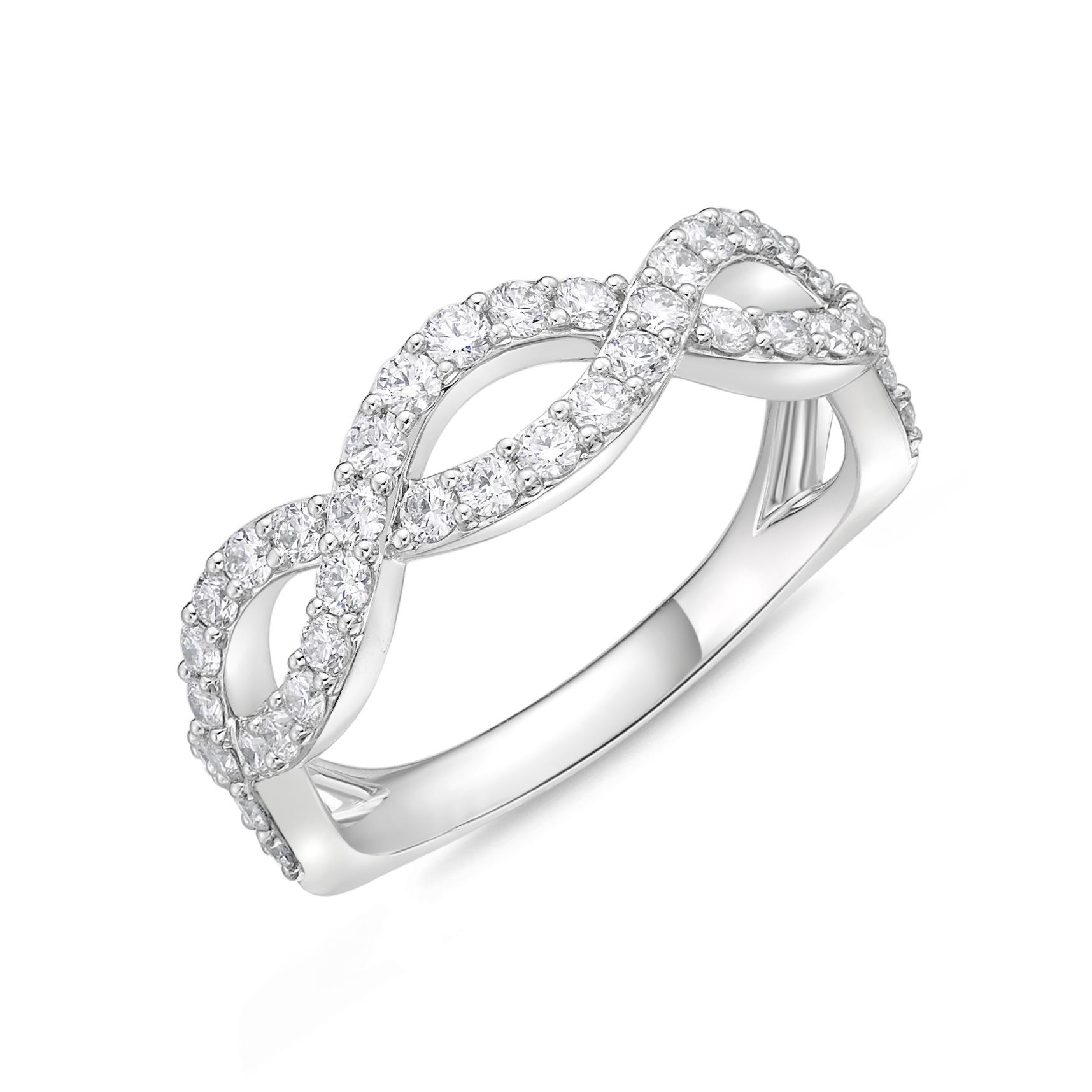 Memoire 18ct White Gold 0.70 Carat Diamond Infinity Ring