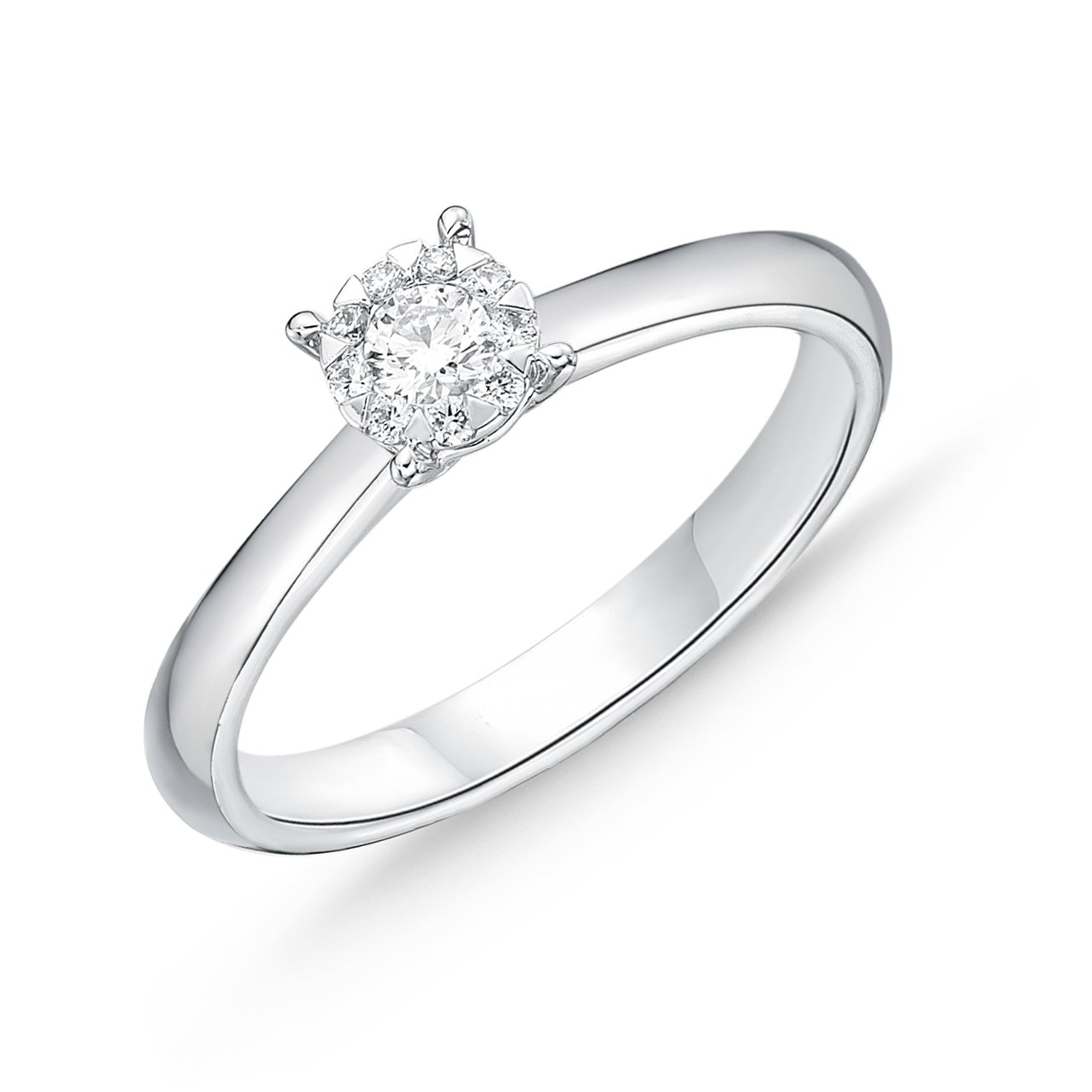Memoire 18ct White Gold 1/5 Carat Diamond Bouquet Solitaire Ring