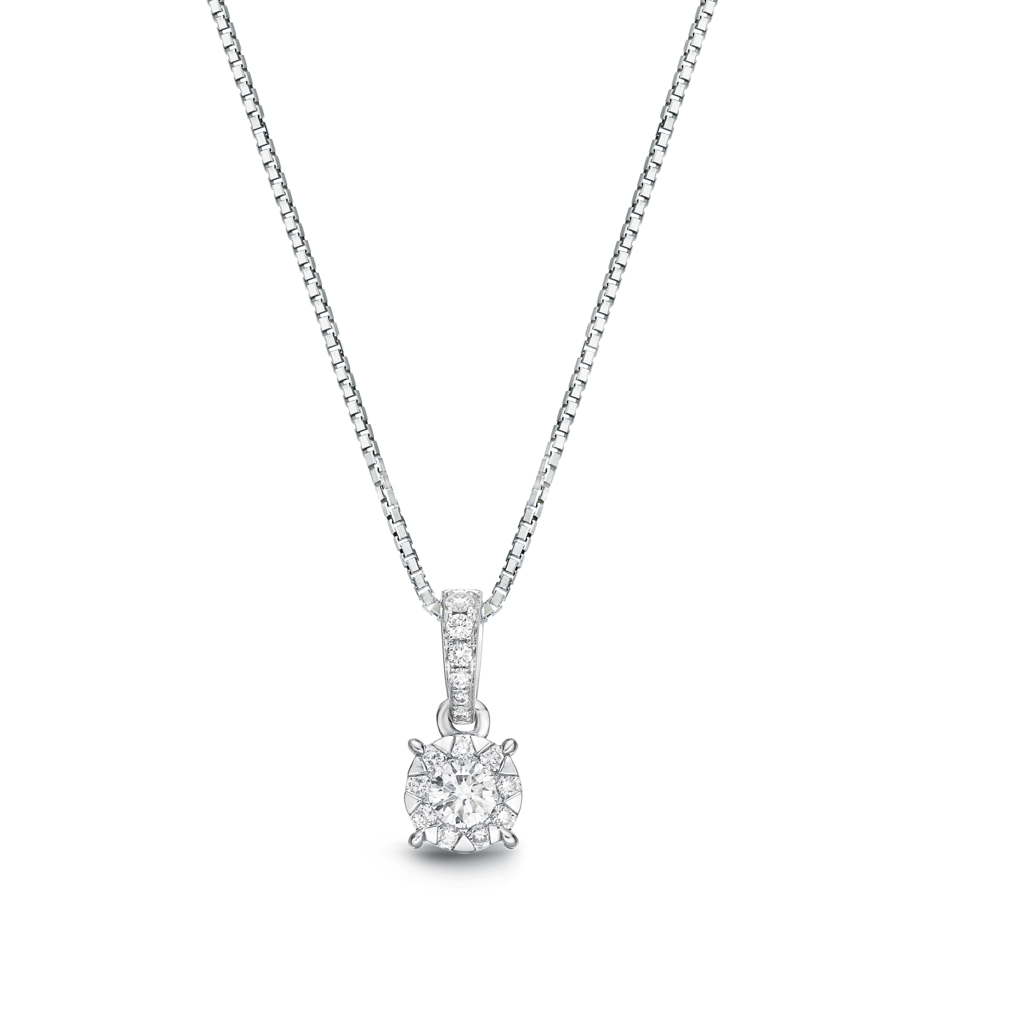 Memoire 18ct White Gold 0.30 Carat Diamond Bale 4 Prong Pendant with Chain