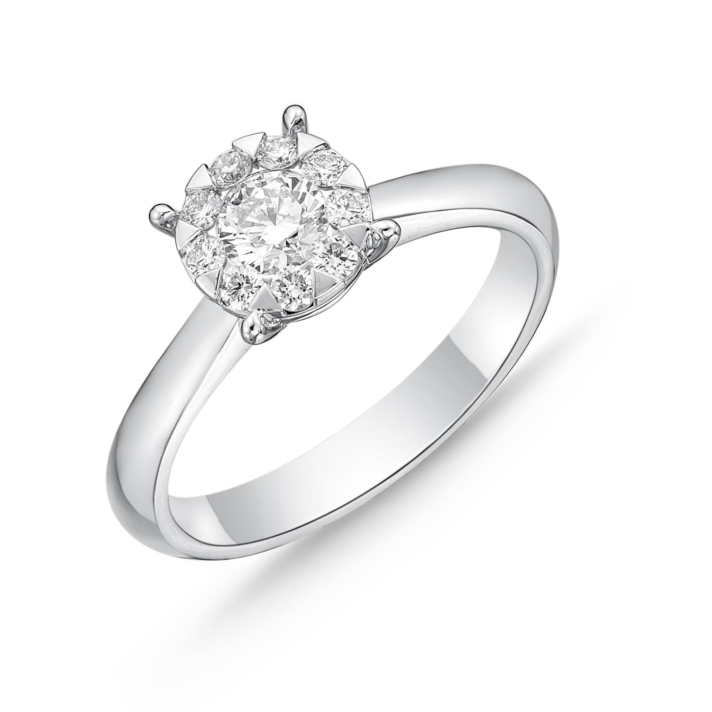 Memoire 18ct White Gold 0.45 Carat Diamond Bouquet Solitaire Ring